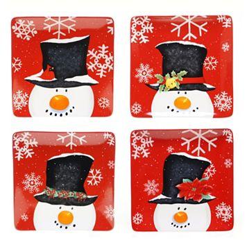 Certified International Top Hat Snowman 4-pc. Dinner Plate Set