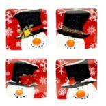 Certified International Top Hat Snowman 4-pc. Dessert Plate Set