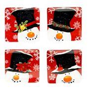 Certified International Top Hat Snowman 4 pc Dessert Plate Set