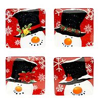 Certified International Top Hat Snowman 4 pc Dessert Plate Set