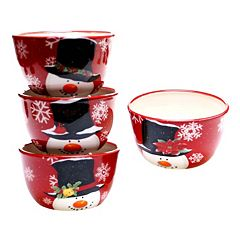 Certified International Top Hat Snowman 4 pc Ice Cream Bowl Set