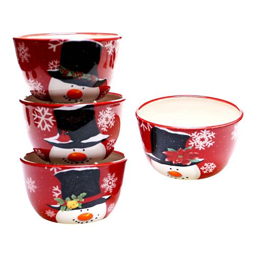 Certified International Top Hat Snowman 4-pc. Ice Cream Bowl Set
