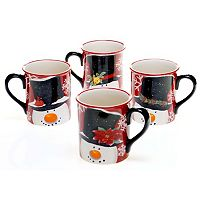 Certified International Top Hat Snowman 4 pc Mug Set
