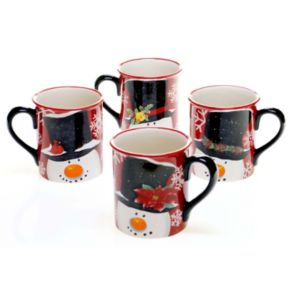 Certified International Top Hat Snowman 4-pc. Mug Set