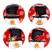 Certified International Top Hat Snowman 4-pc. Canape Plate Set