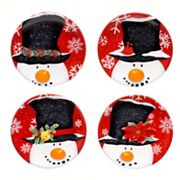 Certified International Top Hat Snowman 4 pc Canape Plate Set