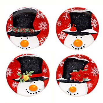 Certified International Top Hat Snowman 4-pc. Canape Plate Set