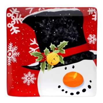 Certified International Top Hat Snowman 12.25-in. Square Serving Platter