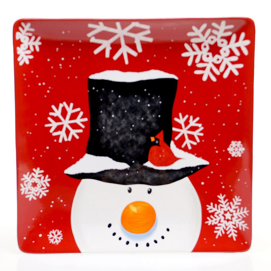 Certified International Top Hat Snowman 14.25-in. Square Serving Platter