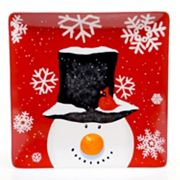 Certified International Top Hat Snowman 14.25 in Square Serving Platter
