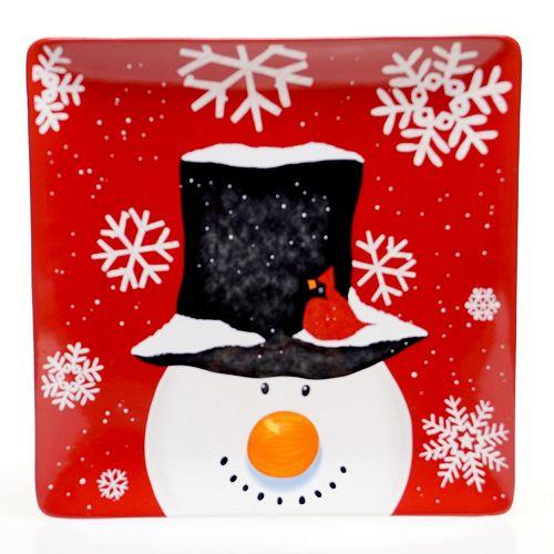 Certified International Top Hat Snowman 14.25-in. Square Serving Platter