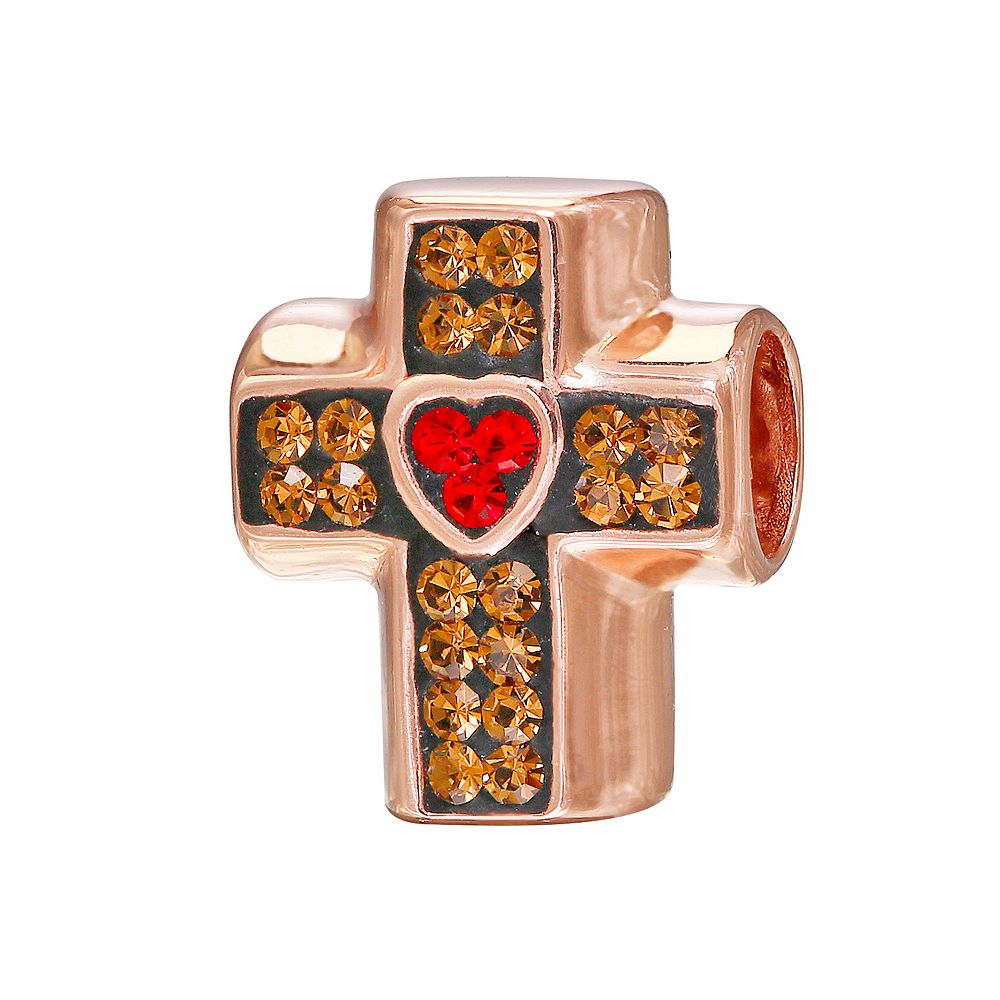 Individuality Beads Crystal 14k Rose Gold Over Silver Cross Bead