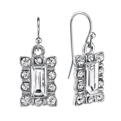 1928 Rectangle Halo Drop Earrings