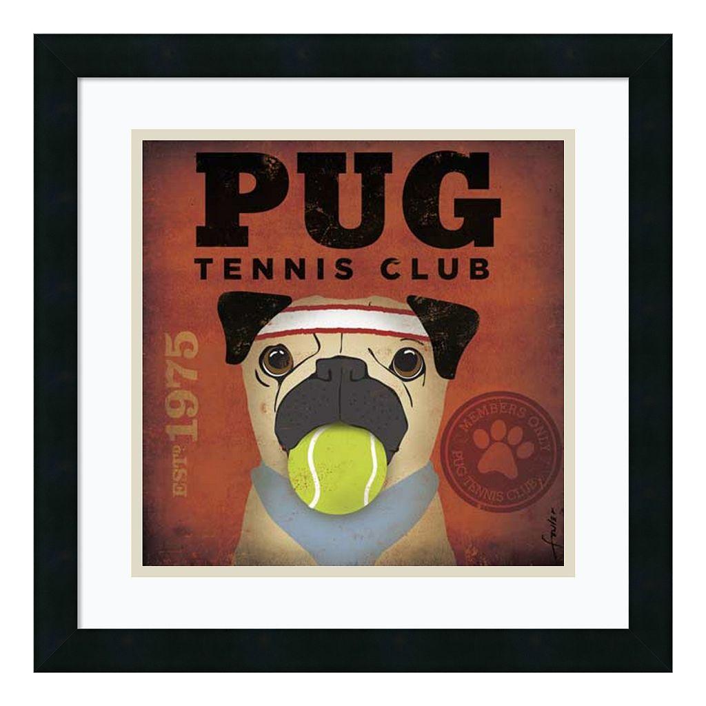 ''Pug Tennis Club'' Framed Art Print by Stephen Fowler