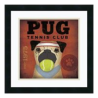 ''Pug Tennis Club'' Framed Art Print by Stephen Fowler