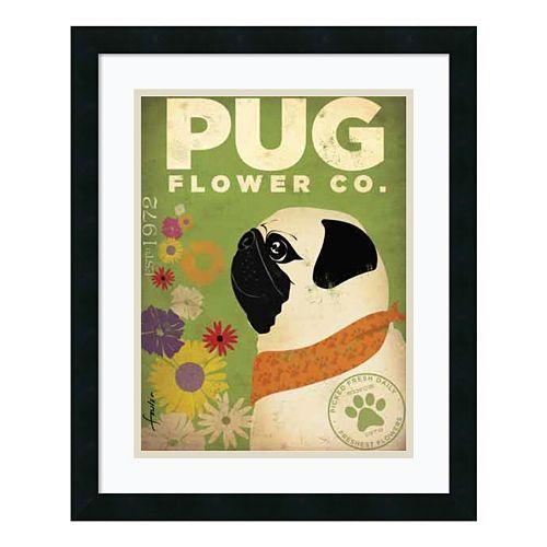 ''Pug Flower Co.'' Framed Art Print by Stephen Fowler