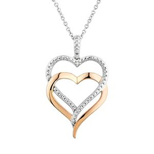 Two Hearts Forever One Diamond Accent 10k Rose Gold Over Silver and Sterling Silver Heart Pendant Necklace