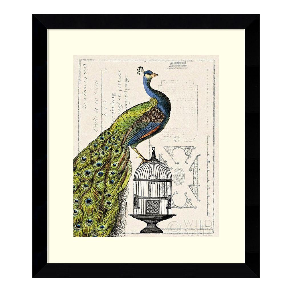 ''Peacock Birdcage I'' Framed Art Print by Sue Schlabach