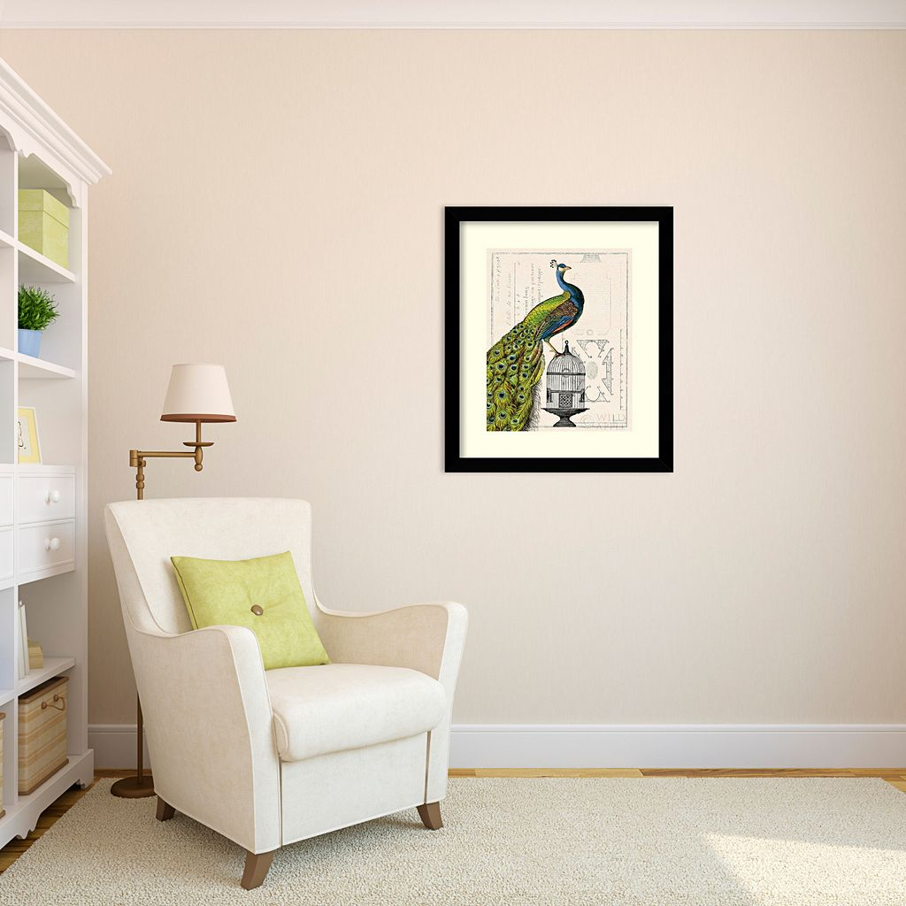 ''Peacock Birdcage I'' Framed Art Print by Sue Schlabach