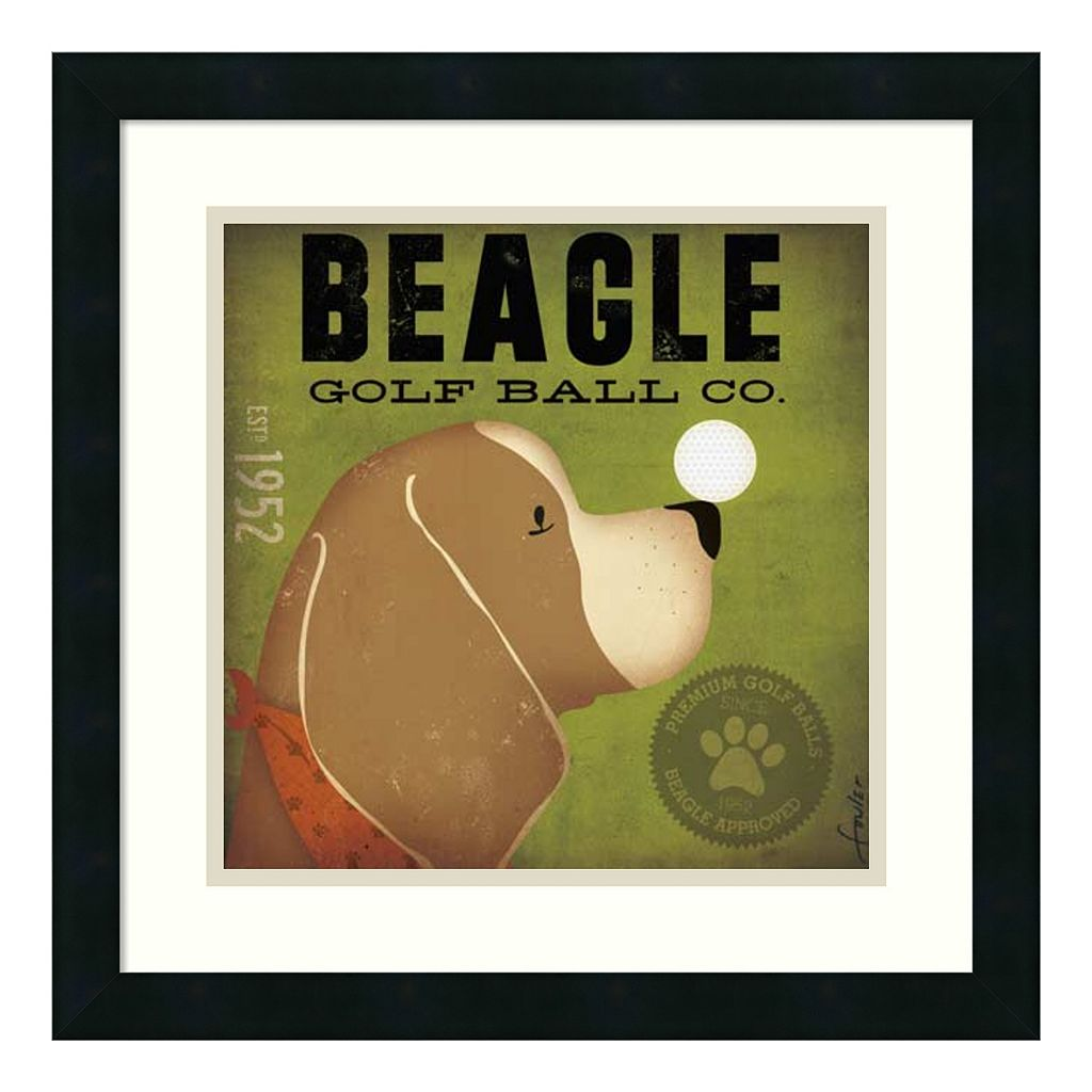 ''Beagle Golf Ball Co.'' Framed Art Print by Stephen Fowler