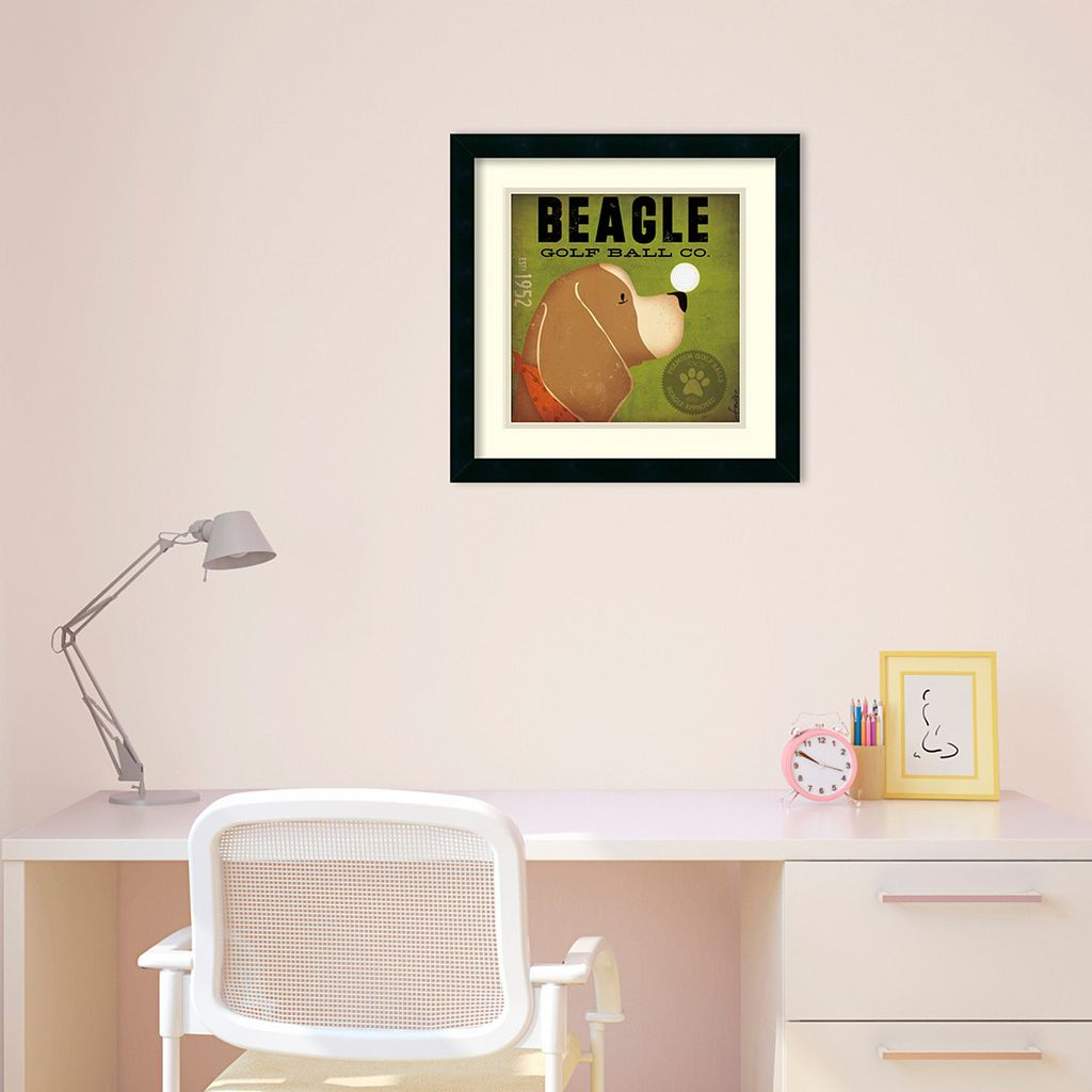 ''Beagle Golf Ball Co.'' Framed Art Print by Stephen Fowler