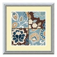 ''Patchwork Motif Blue I'' Framed Art Print by Alain Pelletier
