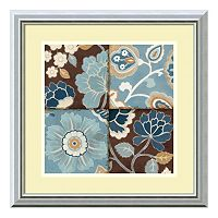 ''Patchwork Motif Blue II'' Framed Art Print by Alain Pelletier