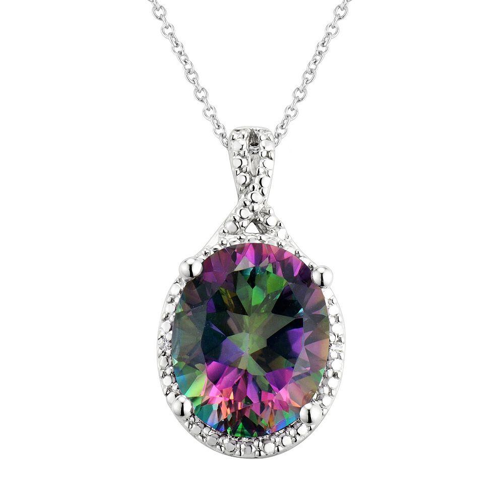 Sterling Silver Mystic Fire Topaz Pendant Necklace