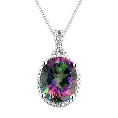 Sterling Silver Mystic Fire Topaz Pendant Necklace
