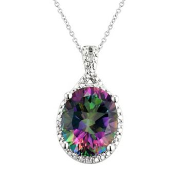 Sterling silver mystic fire topaz pendant necklace aloadofball Images