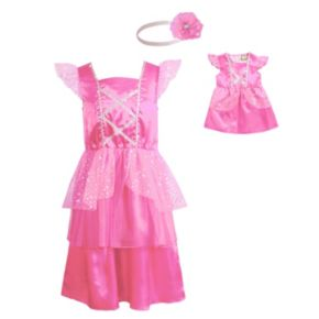 Girls Dollie & Me Flutter Sleeve Satin Princess Dress