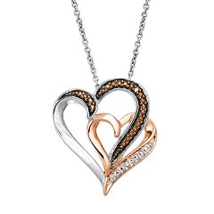 Diamond Accent Sterling Silver & 18k Rose Gold Over Silver Double Heart Pendant Necklace