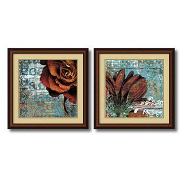 'Graffiti Rose & Gerbera'' 2-Piece Framed Art Print Set by Christina Lazar Schuler