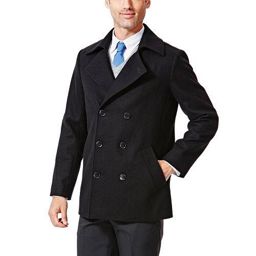 9431364d00 Men's Haggar® Modern-Fit Double-Breasted Melton Wool-Blend Peacoat