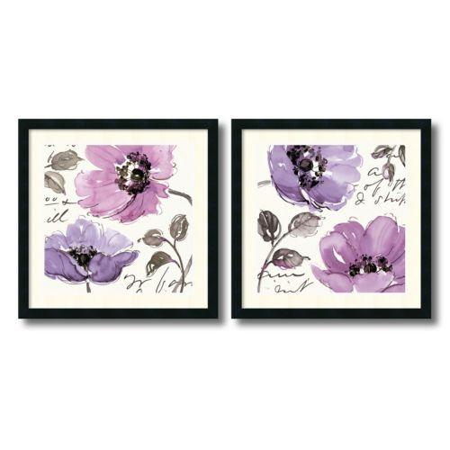 """""""Floral Waltz Plum"""" 2-Piece Framed Art Print Set"""