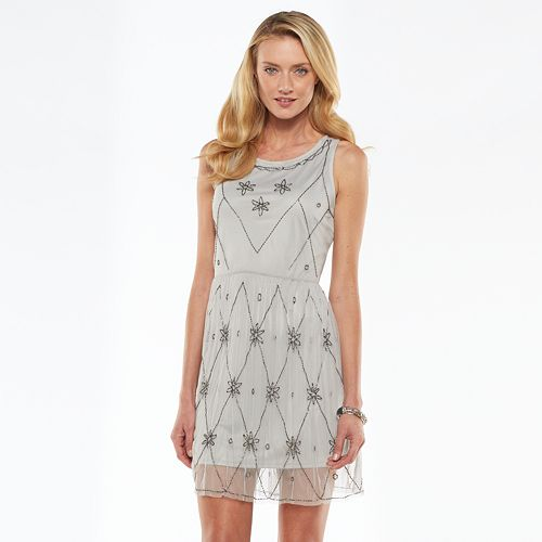 LC Lauren Conrad Beaded Mesh Dress - Women's