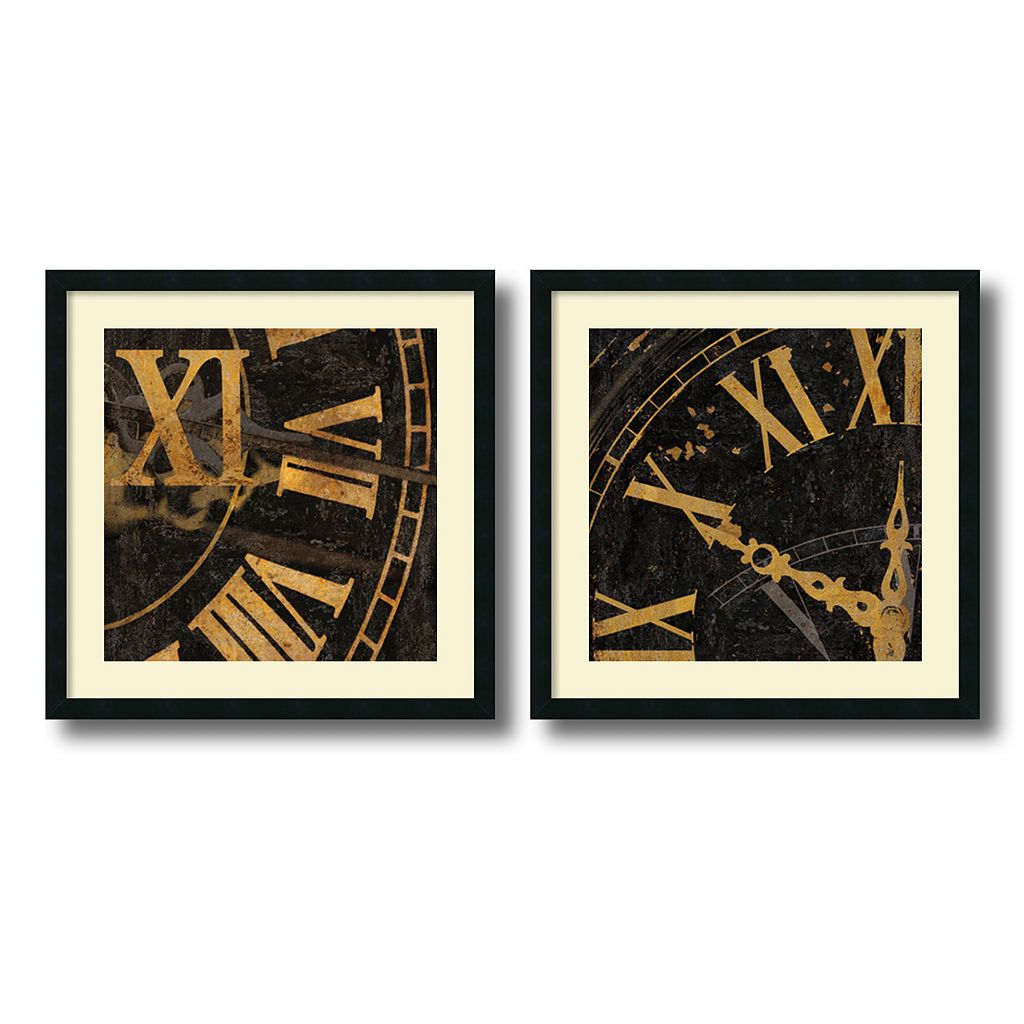 ''Roman Numerals'' 2-Piece Framed Art Print Set by Russell Brennan