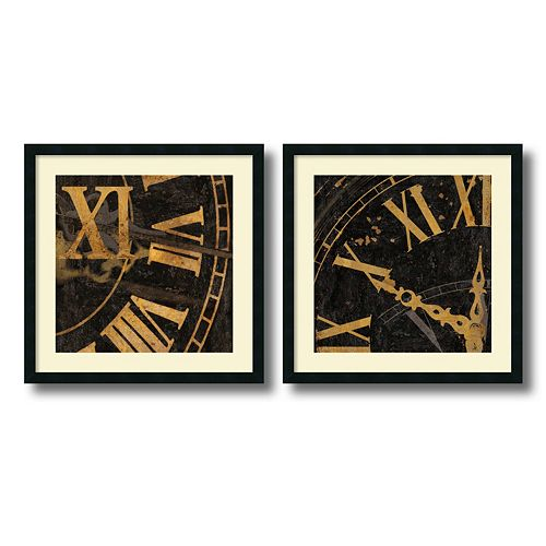 """Roman Numerals"" 2-Piece Framed Art Print Set by Russell Brennan"