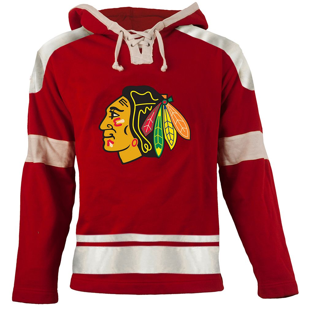 Old Time Hockey Chicago Blackhawks Grant Lace-Up Jersey Fleece Hoodie - Men