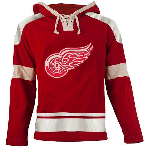 ... uk old time hockey detroit red wings grant lace up jersey fleece hoodie  men cbe10 d6d71 8e2f7da38