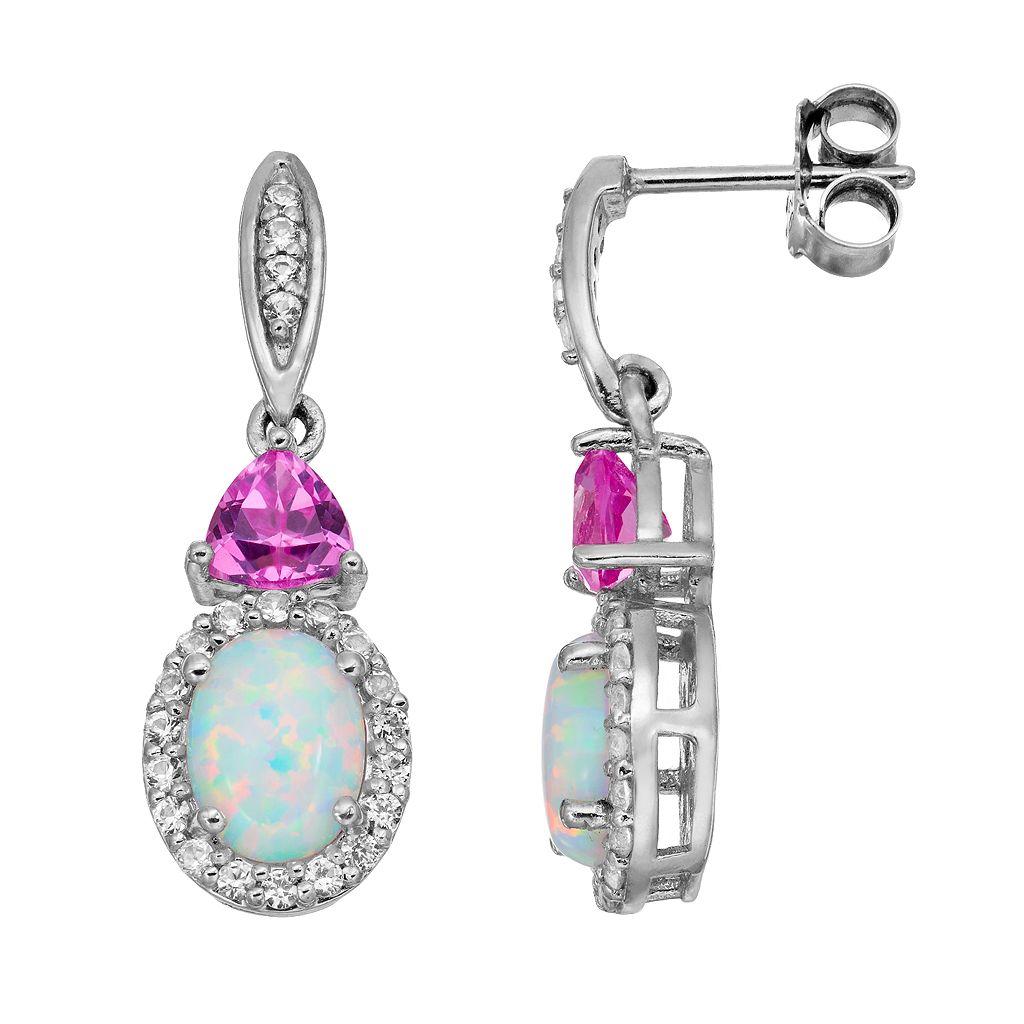 Lab-Created Opal & Gemstone Sterling Silver Halo Drop Earrings