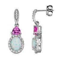 Lab-Created Opal & Gemstone Sterling Silver Halo Drop Earrings