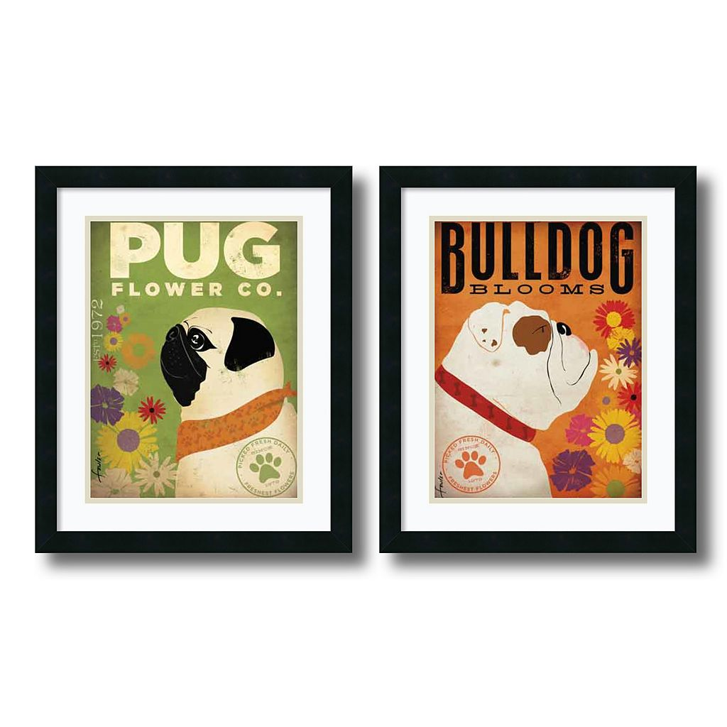 'Pug & Bulldog Florals'' 2-Piece Framed Art Print Set by Stephen Fowler