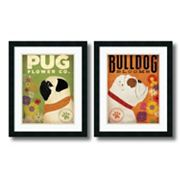 'Pug & Bulldog Florals'' 2 pc Framed Art Print Set by Stephen Fowler