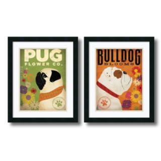 'Pug and Bulldog Florals'' 2-Piece Framed Art Print Set by Stephen Fowler