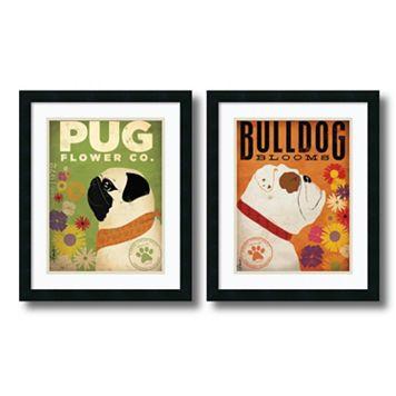 'Pug & Bulldog Florals'' 2-Piece Framed Art Print Set by Stephen Fowler