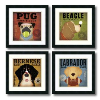 ''Sport Dogs'' 4-Piece Framed Art Print Set by Stephen Fowler