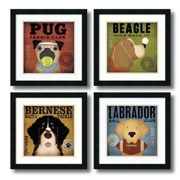 ''Sport Dogs'' 4-Piece Framed Art Print Set by Stephen Fowler