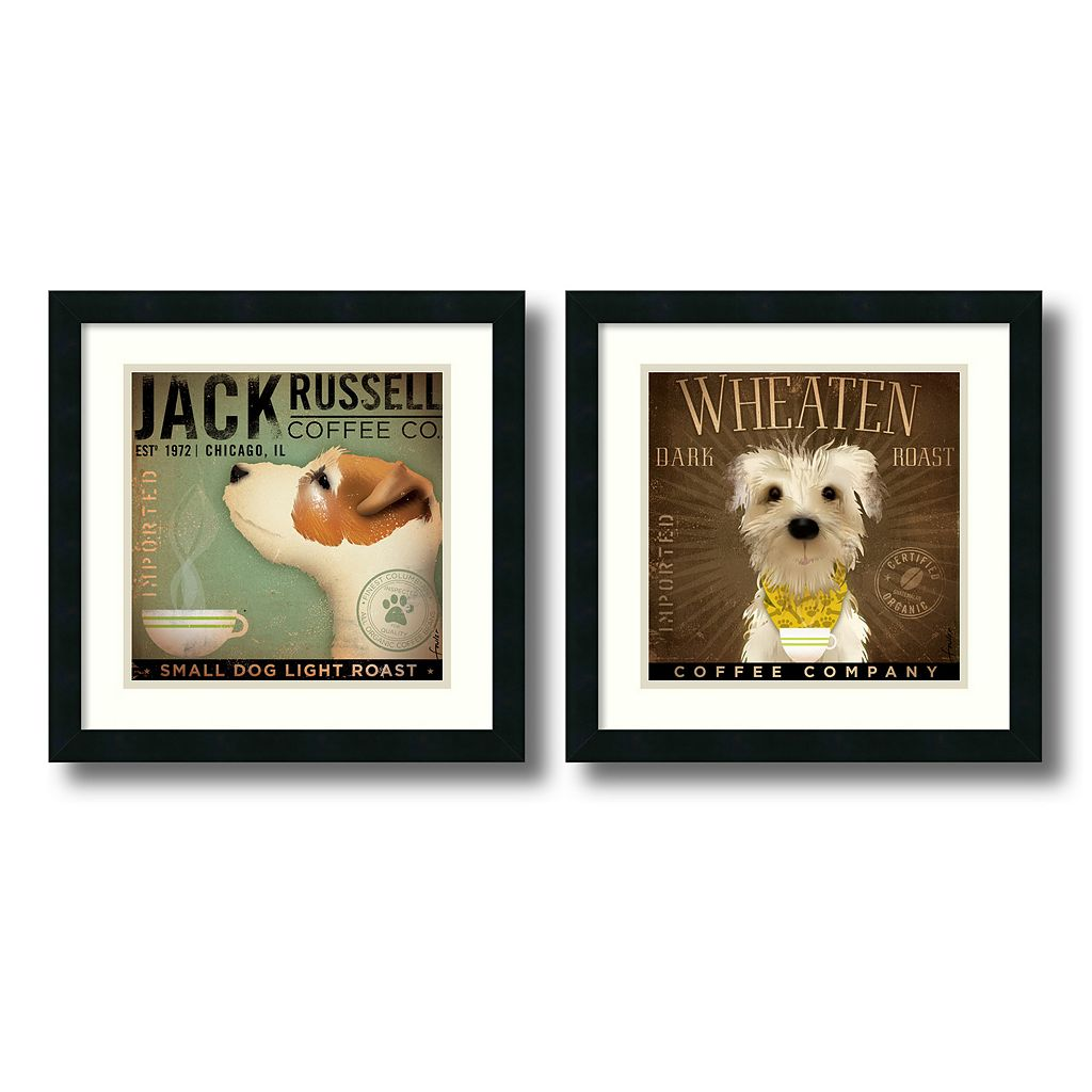 ''Coffee Dogs'' 2-Piece Framed Art Print Set by Stephen Fowler