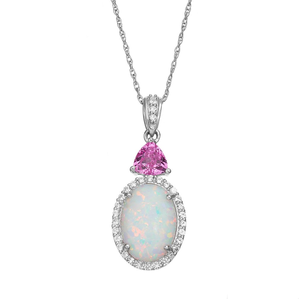 Lab-Created Opal & Gemstone Sterling Silver Halo Pendant Necklace